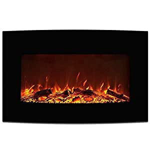 "Amazon Elite Flame 35"" York Curved Black Wall Mounted"