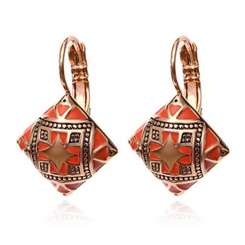 Fashion Vintage Enamel Stud Earrings Geometric Square Drop Dangle Earring Carving Flower Ethnic Ear Drop