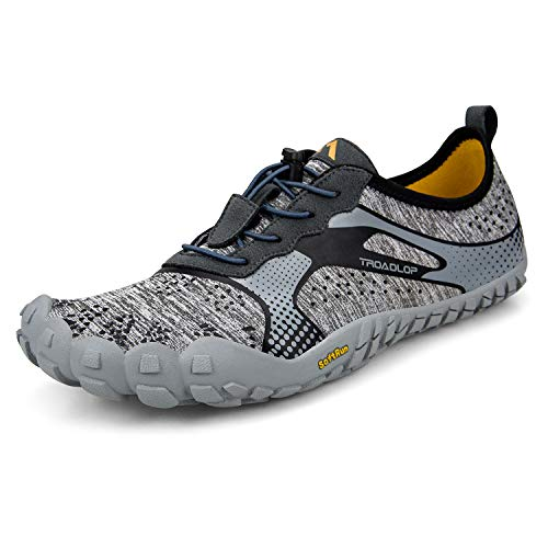 Troadlop Men's Running Shoes Quick Drying Outdoor Lightweight Breathable Non-Slip Mesh Hiking Sports Gym Walking Shoes Grey12
