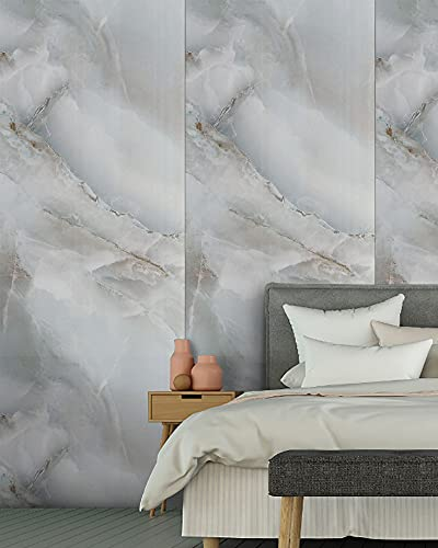 Marble Wallpaper Matte Surface Contact Paper Cyan-Blue Self Adhesive Furniture Stickers Waterproof Wall Covering Texture Stone Granite Vinyl Wrap Wallpaper 45×300cm for Kitchen Bedroom Cabinet Table