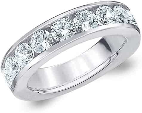 2 CT Classic Channel-Set Lab Grown Diamond Ring in 10K Gold, Sparkling in E-F Color and VS Clarity