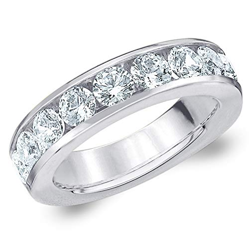 2 CT Classic Channel-Set Lab Grown Diamond Ring in 10K White Gold, Sparkling in E-F Color and VS Clarity- Finger Size 7 (Sets Wedding Carat Diamond 2)