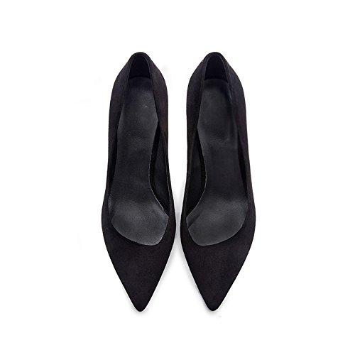 Sexy 5cm 3 Tips Pour EU 35 Black Leather Scrubs Heels Court 6 Professionnelles Black Fine Shoes Chaussures Chaussures UK Lambs Dames Femmes zpBvqqT