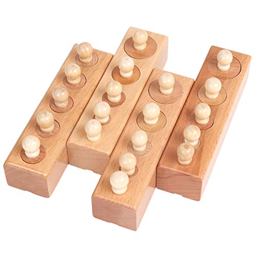 (Fly whale Montessori Knobbed Cylinder Socket Montessori Materials Wooden Cylinders Ladder Blocks Educational Wooden Toy Montessori Education Toy Family Version)