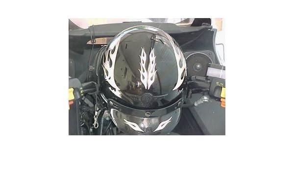 Reflective Motorcycle Helmet Decal Kit Flames Black Helmets - Motorcycle helmet decals graphicsappliedgraphics high visibility reflective motorcycle decals