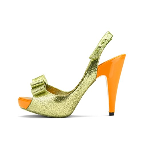 Chemistry B816 Womens Peep Toe Fashion Ankle Strap Bow Tie Glittered Sexy Stiletto High Heel Pump Shoes Orange 7FhRH2U
