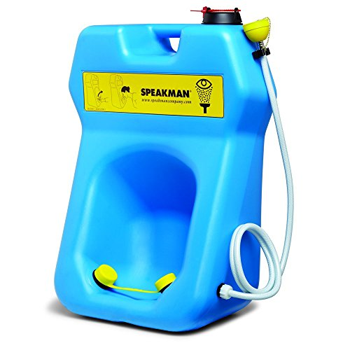 Speakman SE-4300 GravityFlo 20-Gallon Portable Emergency Eye Wash with Drench Hose, High Visibility Blue Plastic - Eye Wash Drench Hose