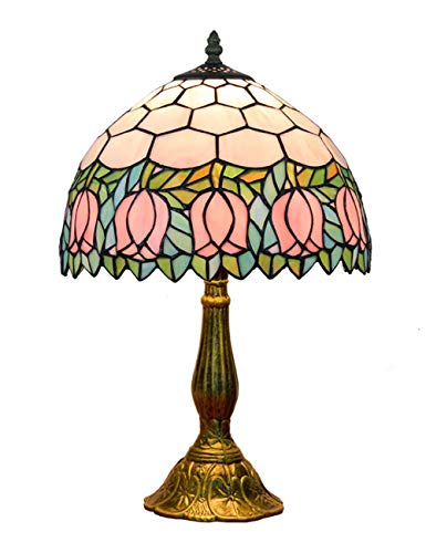 KCoob Table Lamp Classic Pink Tulip Horizontal Pattern on Umbrella Shape Cover Bedroom Natural Light ()