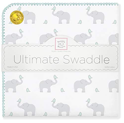 (SwaddleDesigns Ultimate Swaddle, X-Large Receiving Blanket, Made in USA Premium Cotton Flannel, Elephant and SeaCrystal Chickies (Mom's Choice Award Winner))