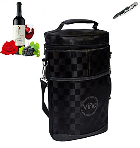 Vina¨ 2-bottle Wine Carrier Bag, Insulated Wine Carrier Tote, Champagne Cooler Travel Bags, Insulated Wine Bottle
