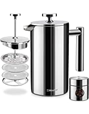 Mueller French Press Double Insulated 304 Stainless Steel Coffee Maker 4 Level Filtration System, No Coffee Grounds, Rust-Free, Dishwasher Safe