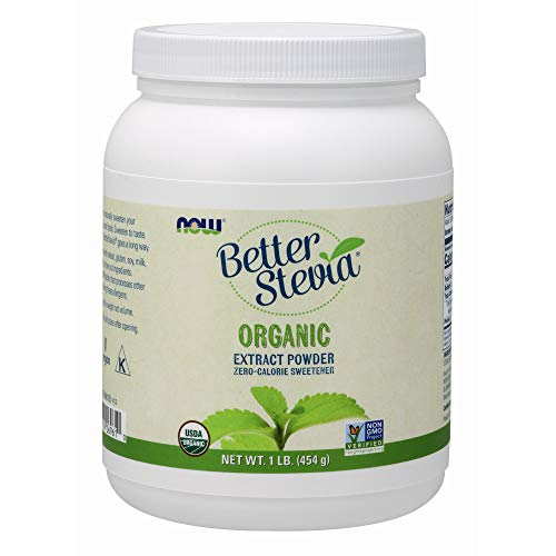 (NOW Foods, Certified Organic Better Stevia, Extract Powder, Zero-Calorie Sweetener, Certified Non-GMO, 1-Pound)