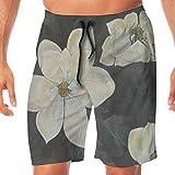 Flowers Magnolia Gardenia Men's Quick Dry Printed Beach Shorts Swim Trunks White