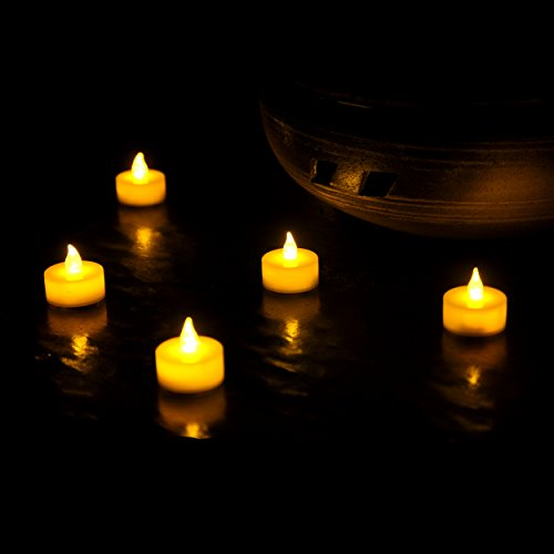 Instapark Flameless LED Tea Light Candles Battery Powered Realistic Bulk Tealights, Warm Amber, Pack of 24