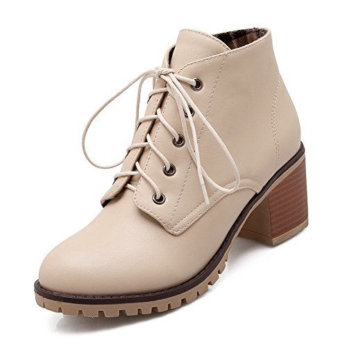 AgooLar Women's PU Kitten-Heels Round Toe Solid Lace-up Boots Beige h23Ss