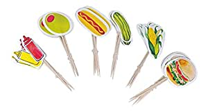 Decorative Wooden Toothpicks for Party Cocktails Appetizers Sandwiches and Other Foods, 24 Pack