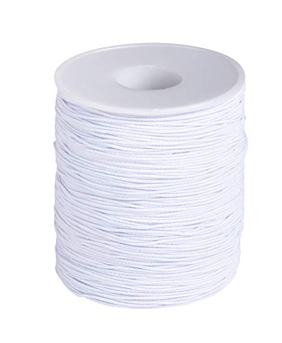 0.7mm White Elastic Cord - 200-Yard Stretch Round String for Beading Crafting Jewelry Bracelet Making, Includes Spool, 600 Feet ()