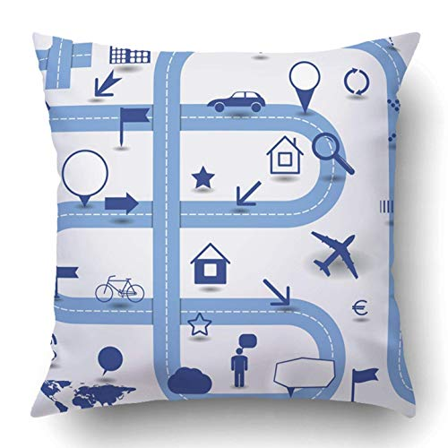 SUIT AND TIE Throw Pillow Covers Road Infographics Signs Pointers Map Travel Graphic Cycle Info Information People Polyester 18 X 18 Inch Square Hidden Zipper Decorative Pillowcase ()
