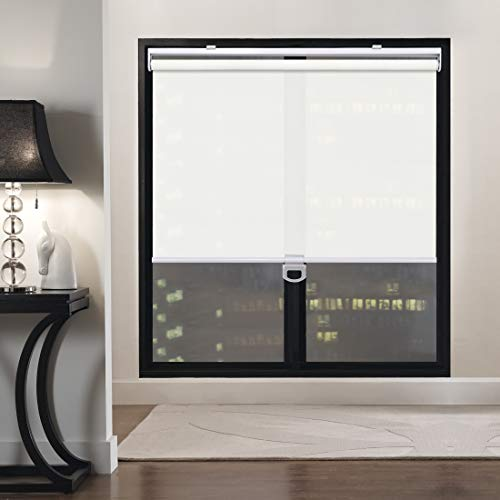 Keego Custom Cordless Light Filtering Privacy Window Shades, Free-Stop Spring Roller Blinds for Windows for Living Room/Bedroom/Nursery/Office and More [White 95% Blackout,42″ W x 44″ H(Inch)]