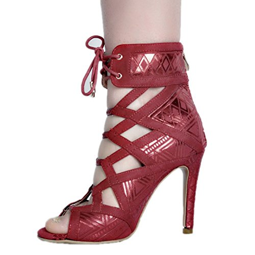 partie Kolnoo haut bureau Nouveau toe sandales peep parti de mode de talon Femmes Rouge BFCM HxFwUqrOH