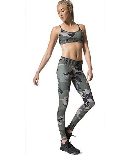 Pink Peach Women's Yoga Leggings High Waist Camo Running Sports Pants Slim Fit