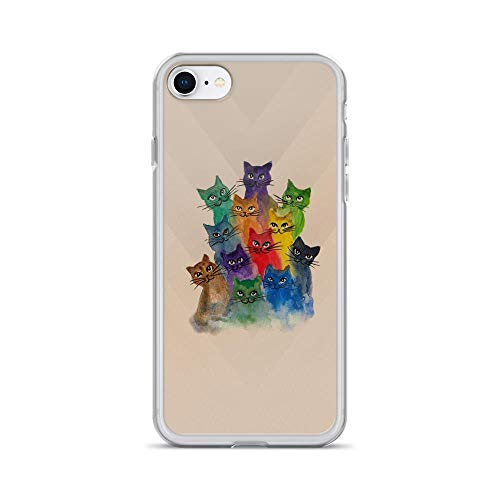 iPhone 7/8 Pure Clear Case Cases Cover Cats, Lots of Cats Colorful -