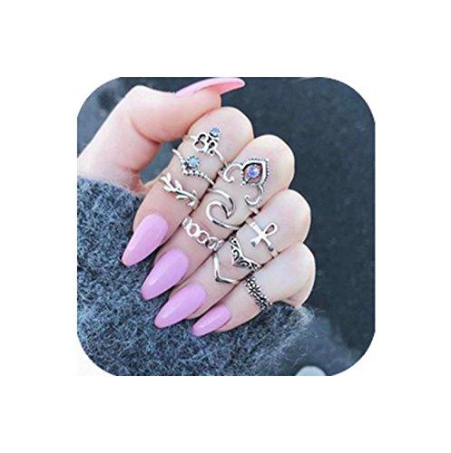 Nail Ring (Geerier Retro Statement Ring Set Crown Flower Yoga Rhinestone Joint Knuckle Nail Midi Ring 10Pcs/Set)
