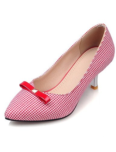 GGX/Damen Schuhe Stoff Sommer/Herbst Heels/spitz Toe Heels Büro & Karriere/Casual Trichterabsatz Schleife Schwarz/Rot black-us8 / eu39 / uk6 / cn39