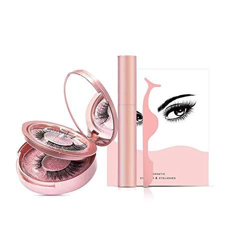 Magnetic Eyeliner and Lashes Kit 2 Styles False Eyelashes 3D Black Lashliner (Round)