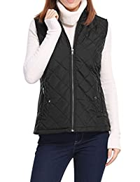 Allegra K Women's Zip Up Front Stand Collar Mock Pockets Quilted Padded Vest