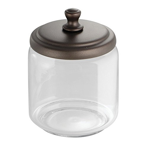 Bronze Kitchen Canisters >> InterDesign York Bathroom Vanity Glass Apothecary Jar for Cotton Balls, Swabs, Cosmetic Pads ...