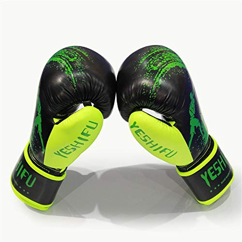 ZHANGQIAO-US Unisex Boxing Gloves Training Gloves Unblock Fight Muay Thai Boxing Gloves UV Protection Non-Slip Gloves (Color : Green, Size : 8oz)