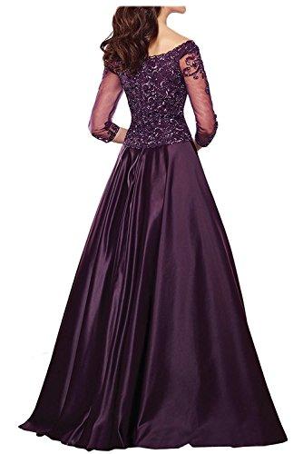 v Tief Brautmutterkleider Spitze Dunkel mia Ballkleider Braut La Gruen Partykleider Schokobraun Lang Abendkleider Ausschnitt fvqnAZ