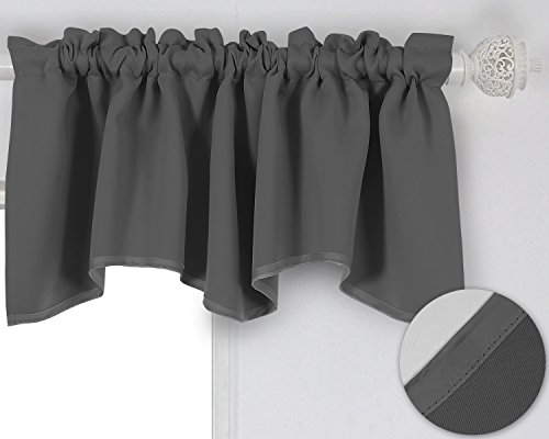 Deconovo Solid Color Scalloped Rod Pocket Valance Short Curtains Blackout Valance Curtains for Windows 42 X 18 Inch Dark Grey 1 Drape