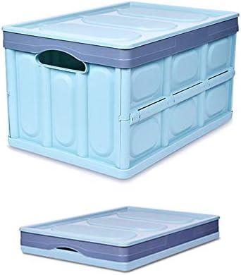 Aiwer Caja de Almacenamiento Plegable Grande Caja de Almacenamiento de plástico Contenedor Plegable de distribución de Servicios públicos con Tapa adjunta Capacidad de 56 litros por litro,Blue,Large: Amazon.es: Hogar