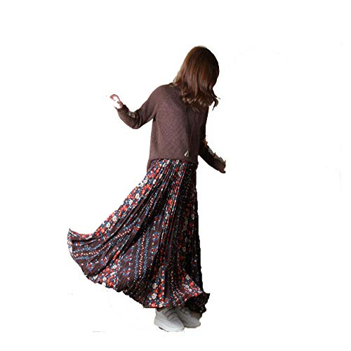 Old La Long Gasa Style Rotas Folk Las Bohemia Faldas Primavera Colgante De Wsad Pequeñas Café Flores Otoño Arrugas Vintage aq0ad