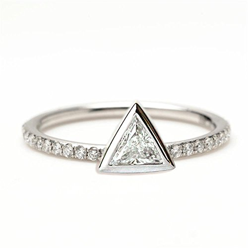 0.2 carat Trillion Diamond ring, Triangle Diamond Ring with pave diamonds, 18k Solid Gold Engagement Ring