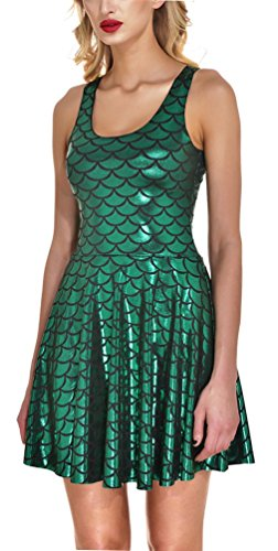 Jescakoo Womens Tank Dresses Sleeveless Pleated Skater Skirts Club Party Costume Green M]()