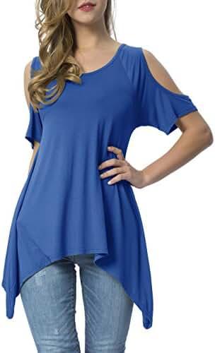 Mounblun Women's Vogue Shoulder Off Wide Hem Design Top Shirt