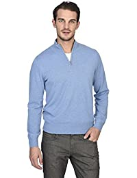 Men's 100% Pure Cashmere Pullover Half Zip Mock Neck Sweater