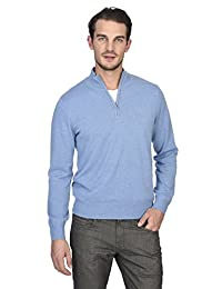 State Cashmere Men's 100% Pure Cashmere Pullover Half Zip Mock Neck Sweater