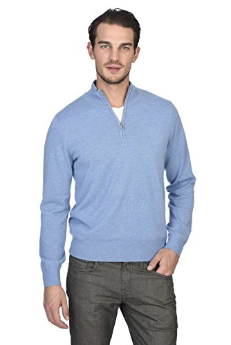State Cashmere Men's 100% Pure Cashmere Pullover Half Zip Mock Neck Sweater (Large, Baby Blue) ()