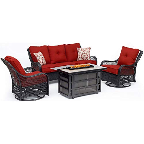 Hanover Orleans 4-Piece Outdoor Patio Conversation Set Liquid Propane Fire Pit Coffee Table Autumn Berry Deep-Seating Sofa Swivel Gliders Natural Gas Adapter Burner Lid Fire Glass Electric Ignition Deep Seating Fire Pit Table