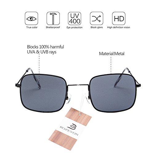 Noir lentille soleil Unisex Rectangulaire gris cadre Lunettes de Lunettes Classique BOZEVON UV400 Femmes R0xz7R6