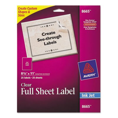 Full-Sheet Inkjet Labels, 8-1/2 x 11, Clear, 25/Pack