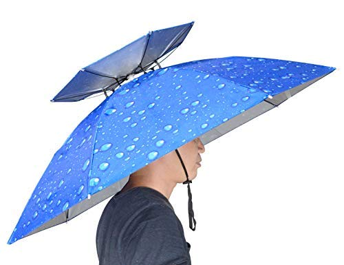 NEW-Vi 37.4'' Diameter Double Layer Folding Compact UV Wind Protection Umbrella Hat for Fishing Gardening -