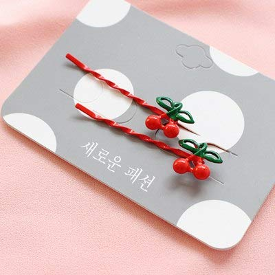 New 2Pieces/lot Fruit Hair Clips Strawberry Cherry Pineapple Hairpins Barrette 5.5cm Metal U-Shaped Plated Bobby Pins for Women -