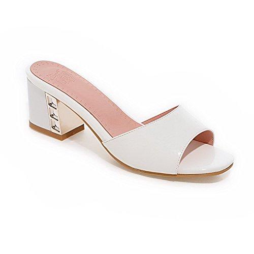 AmoonyFashion Women's PU Solid Pull-on Open Toe Kitten-Heels Slippers, White, 37 by AmoonyFashion