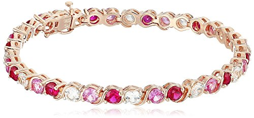 18k Rose Gold over Sterling Silver Created Ruby Created Pink and White Sapphire Bangle Bracelet