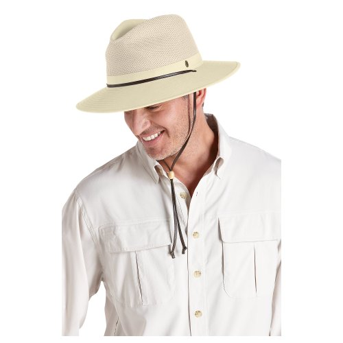Coolibar UPF 50+ Men's Crushable Ventilated Canvas Sun Hat (Large / X-Large - Natural)